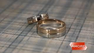 Свадебные кольца из комбинированного золота с бриллиантми   Красное и белое золото