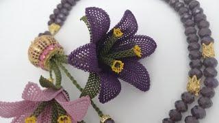 İğne oyası Zambak çiçeğinin yapım aşmaları