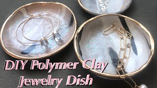 DIY Polymer Clay Jewelry Dish, Clay Jewelry Bowl Tutorial with Gold Leaf Edges, Craft Tutorial