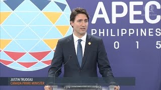 APEC 2015: Press conference with Canada PM Justin Trudeau