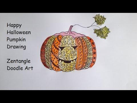 Halloween Pumpkin Drawing Zentangle Art Halloween Doodle Art Creative Drawing Ideas Youtube