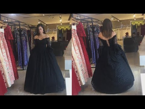 af553677a14 Black Lace Puffy Sleeved Off-the-shoulder Prom Ball Gown. Lunss Custom  Couture