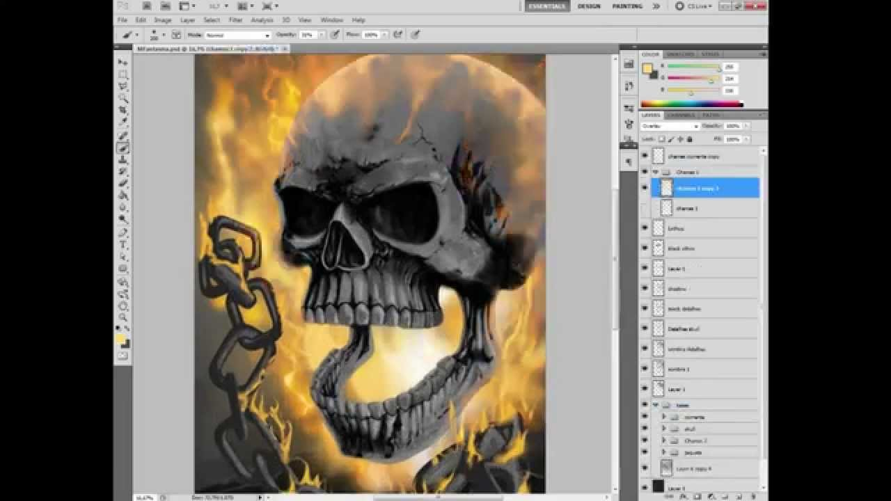 Ghost Rider And Bike Digital Art by Movie Poster Prints  |Ghost Rider Digital Painting Photoshop