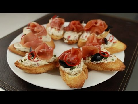 Montaditos de jamon serrano youtube for Canape de jamon y queso