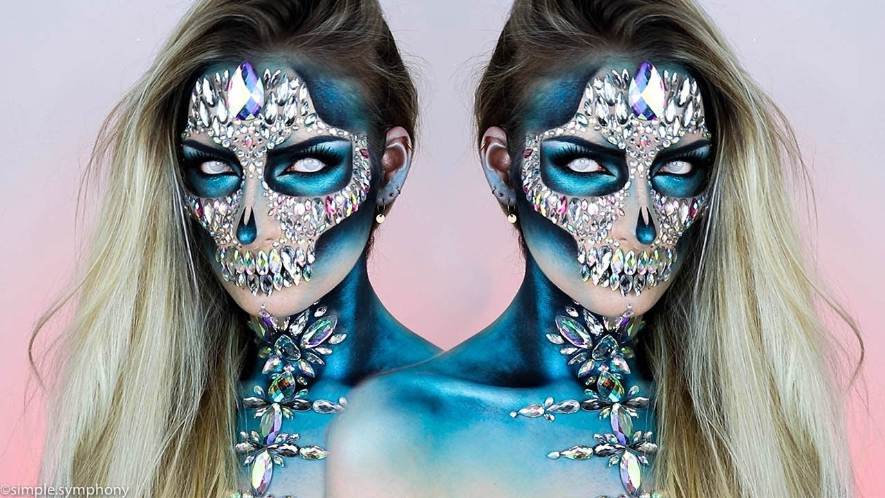 sugar skull holographique maquillage halloween 2017 simple symphony youtube. Black Bedroom Furniture Sets. Home Design Ideas