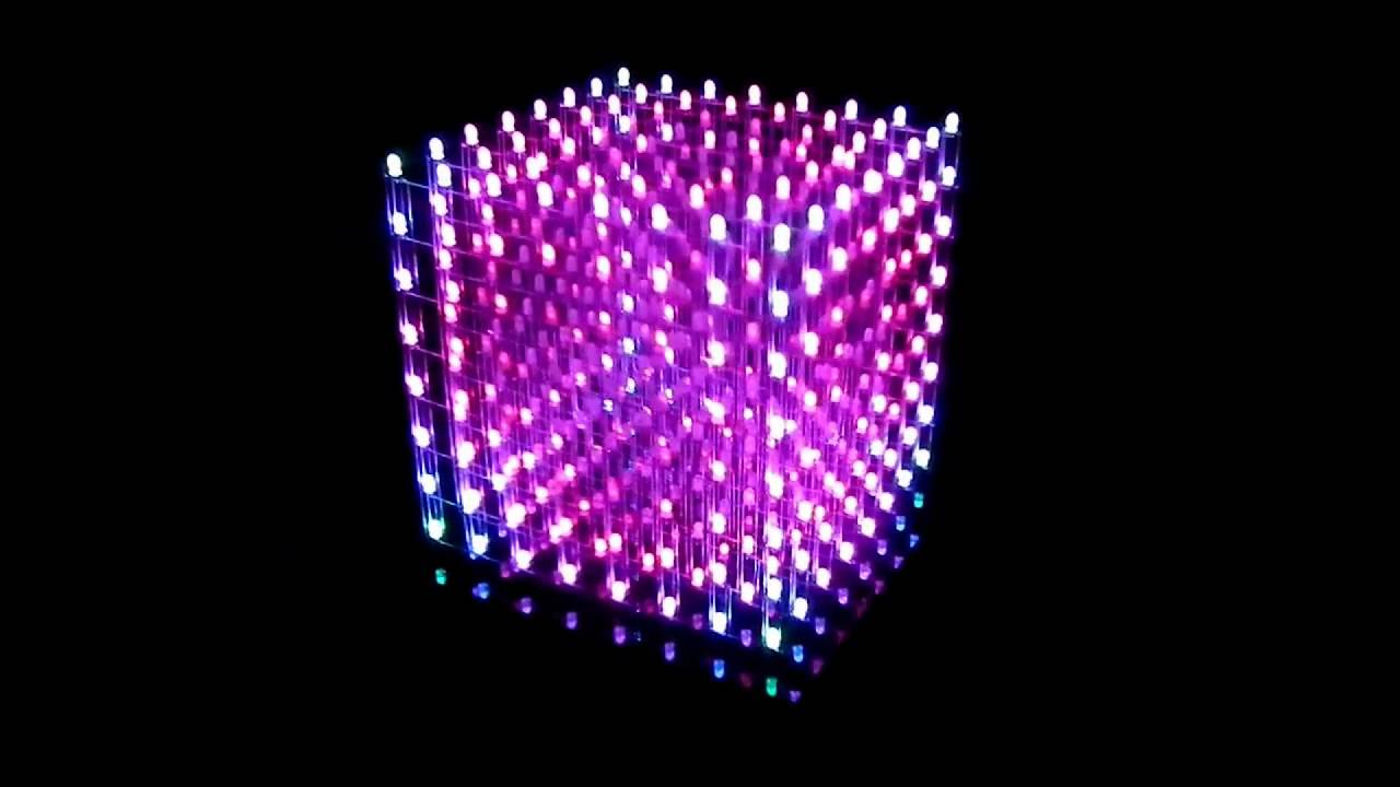 my music cube 3d rgb color led cube 8x8x8 youtube. Black Bedroom Furniture Sets. Home Design Ideas