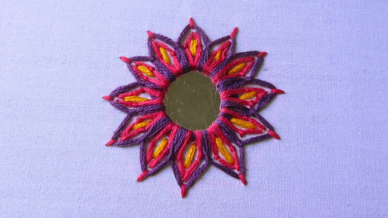 Hand embroidery mirror work stitch shisha
