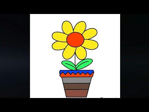 Pot Bunga Matahari Menggambar Gambar Anak Draw Drawing Anakpintar Videoanak Menggambar 25 Youtube