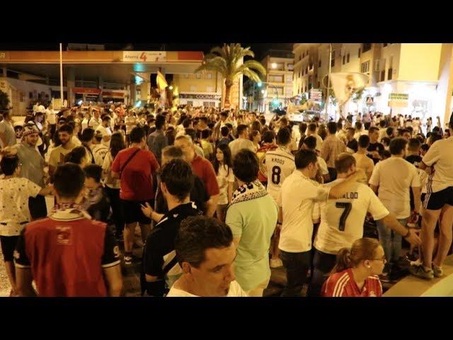 VÍDEO: Aficionados del Real Madrid festejan la duodécima Champions en la fuente del Recinto Ferial