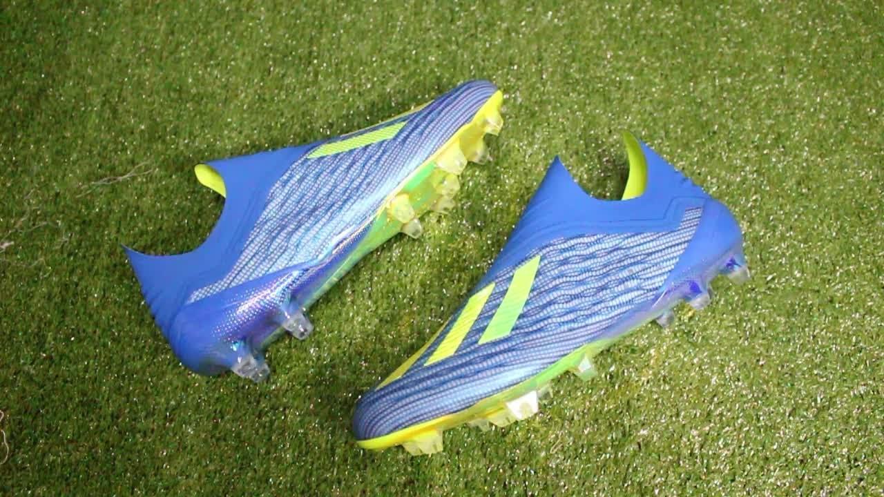 50d2023b7985 Adidas X 18+ PureSpeed 'Energy Mode' (Football Blue/Solar Yellow/Core Black)  Review HD (Thai)