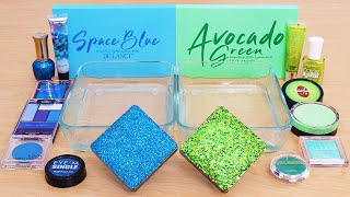 Mixing Slime ASMR with Blue vs Green Makeup