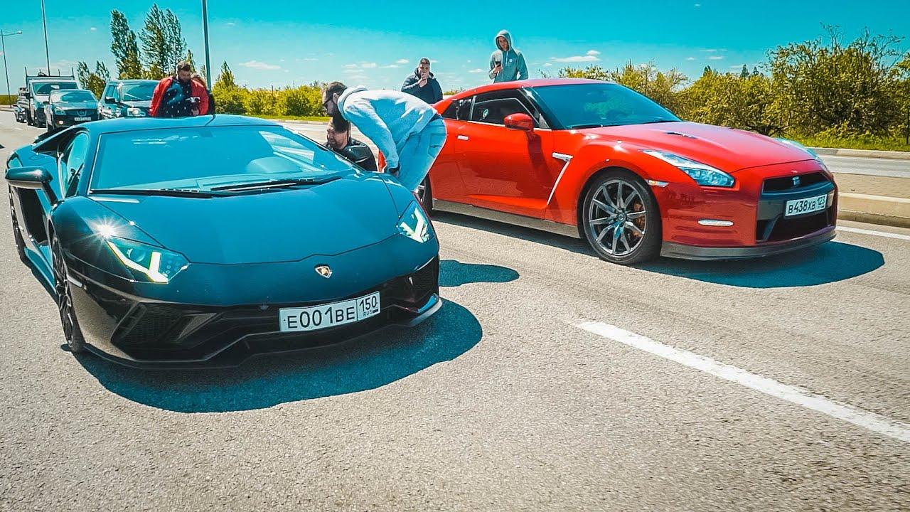 Поспорил с ЛАМБОЙ!  Nissan GT-R vs Lamborghini AVENTADOR vs URUS vs TESLA.