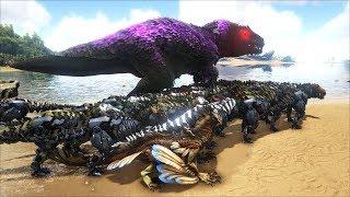 ARK: Survival Evolved - 100 Con Khủng Long T-Rex Đánh Nhau Với Boss