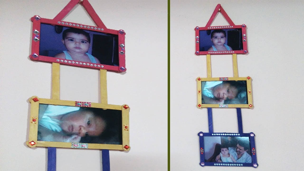 Easy Photo Frame with Popsicle / ice cream sticks, Room Decor ideas ...