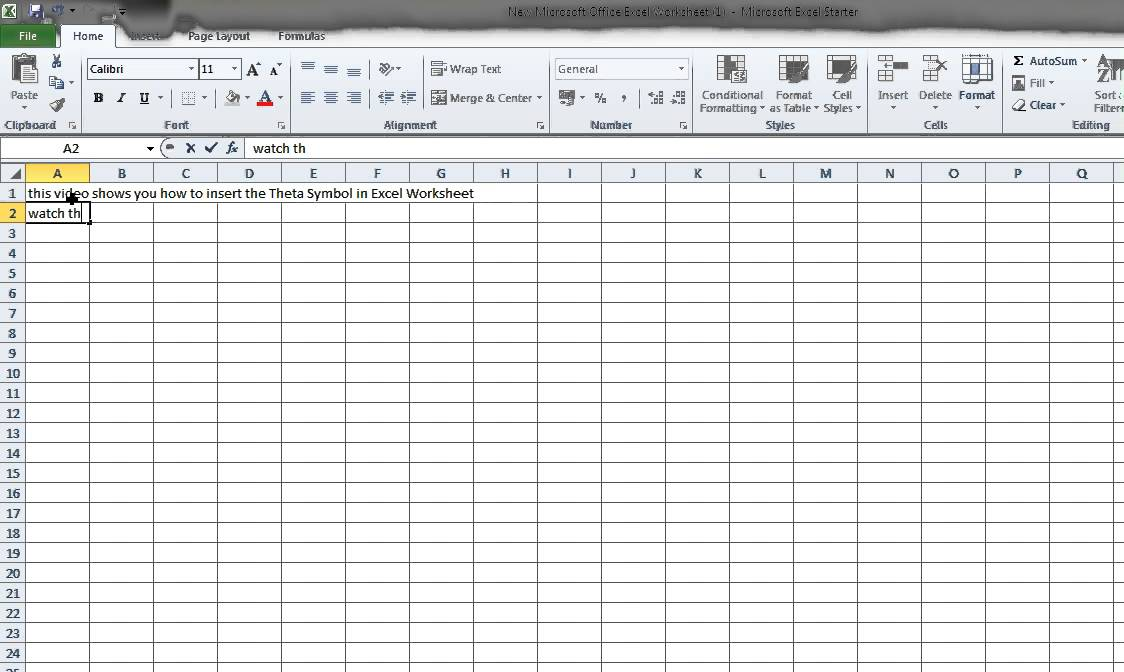 How To Insert Theta Symbol In Ms Excel Worksheet Youtube