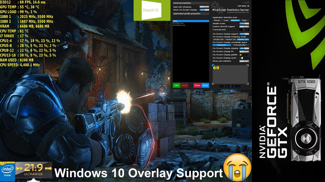 RTSS Finally has Windows 10 UWP Game Support! Gears Of War 4 Test | GTX  1080 | i7 5960x 4 4GHz