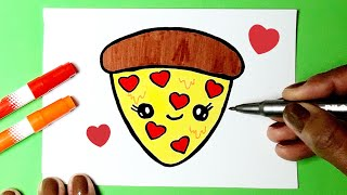 How to Draw Cute Heart PIZZA KAWAII ♥ Cute Drawings | Drawing to Draw
