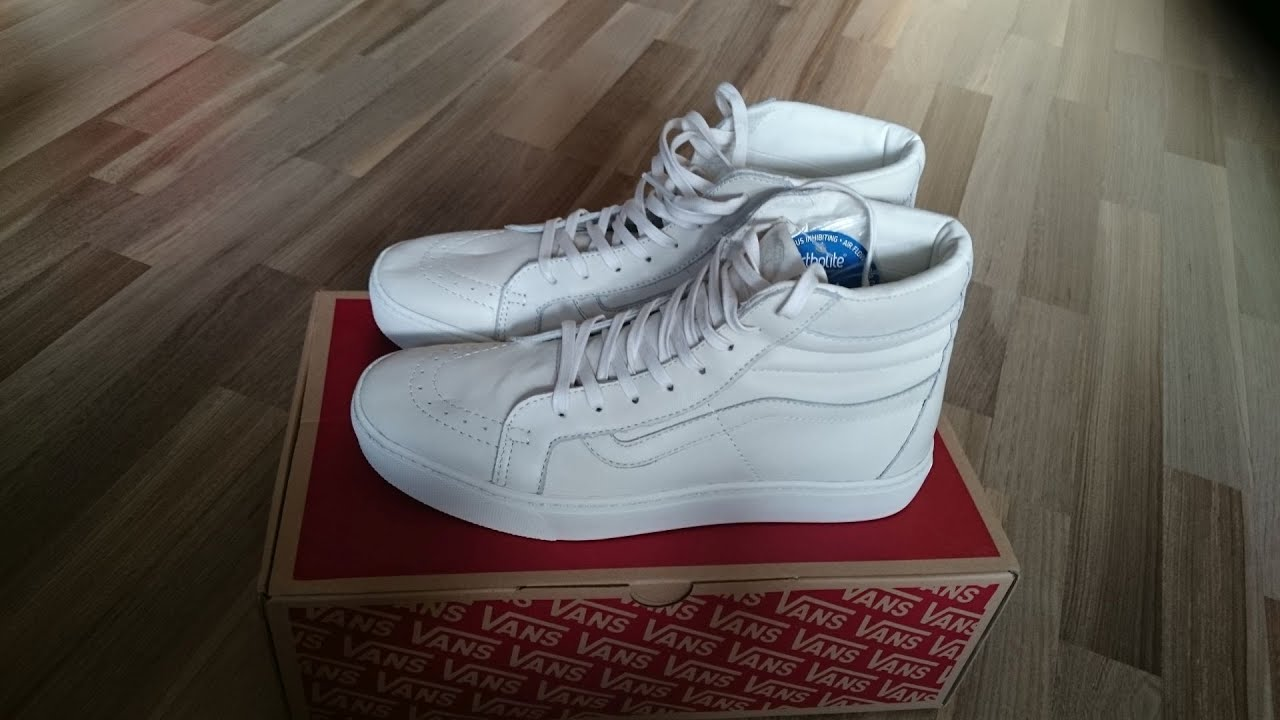 2ce3108214 Vans Sk8-Hi Cup CA (leather) whisper white unboxing   on feet - YouTube