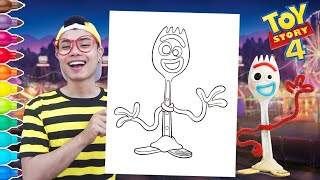 Coloring Toy Story 4 Forky Coloring Book | World of Colors | Easy DIY Tutorial For Kids