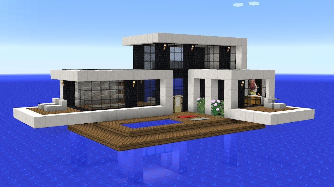 Minecraft - How to build a modern house on water - YouTube