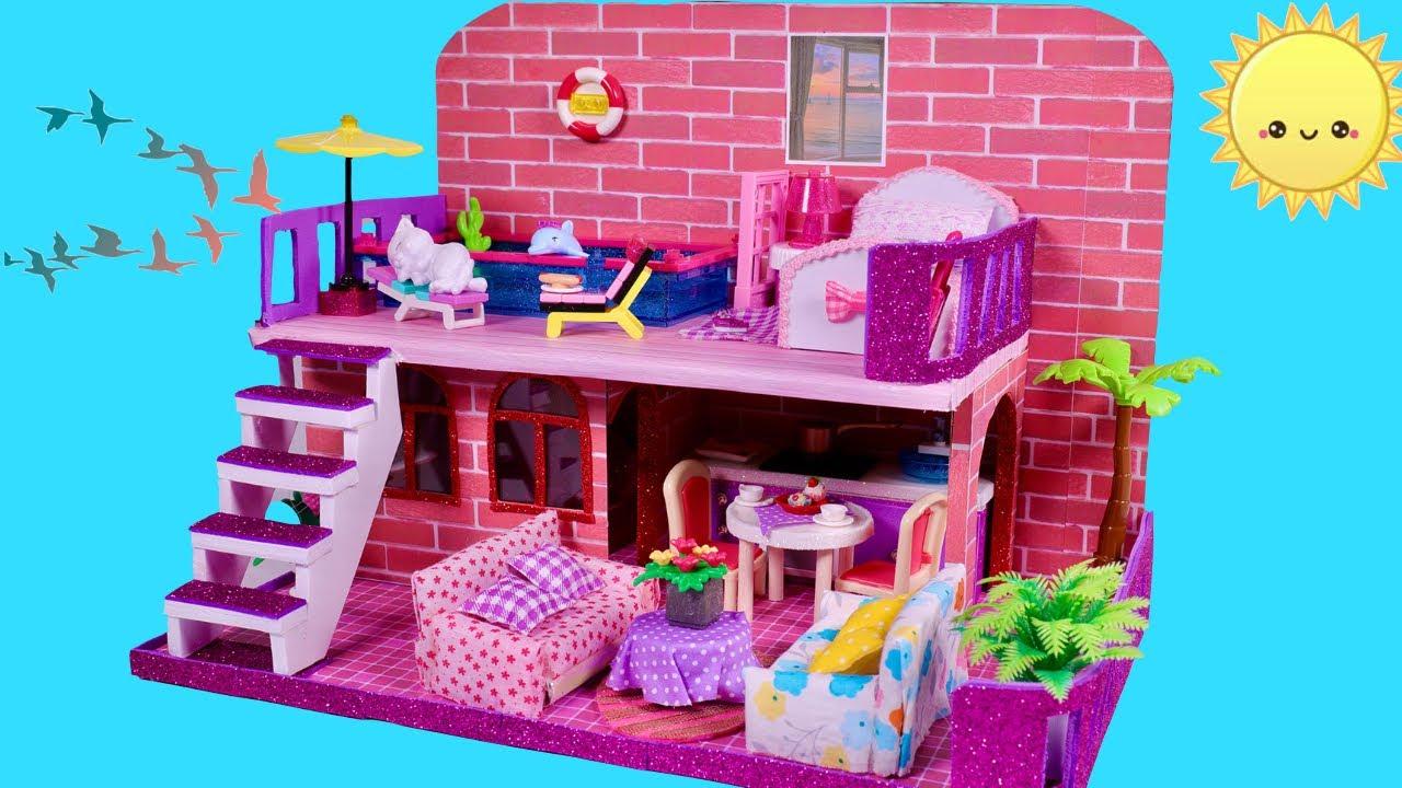 DIY -Build a Miniature Holiday Vila with Swimming Pool - DIY Cardboard House Miniature Dollhouse #16