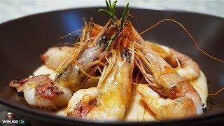 495 - Gamberi lardellati su crema di fagioli...anche senza tovaglioli! (antipasto di pesce facile)