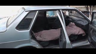 Ваз 2115,складываем  переднее правое сидение вместо кровати.