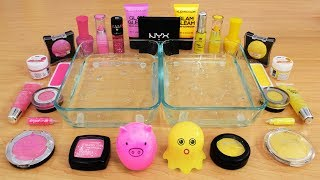Mixing Makeup Eyeshadow Into Slime ! Pink vs Yellow Special Series Part 26 Satisfying Slime Video