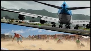 "JET BLAST from a Boeing 747 ""Jumbo Jet"" at Princess Juliana, St Maarten (Full HD1080p)"