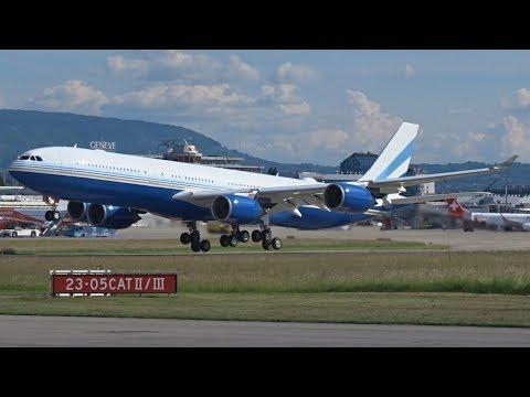 [FullHD] *RARE* Las Vegas Sands Airbus A340-500 takeoff at Geneva/GVA/LSGG