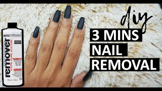 HOW TO: REMOVE FAKE NAILS AT HOME IN 3 MINS    fastest way to remove fake nails & gel polish at home