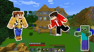 Minecraft Survival Mode - Multiplayer Toy Story's WOODY   Minecraft Village Zombie Creepers Caves