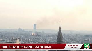 The iconic Notre Dame Cathedral in Paris is on fire