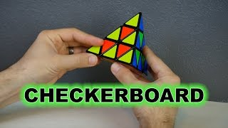 Pyraminx Puzzle: Easiest way to create the Checkerboard Pattern