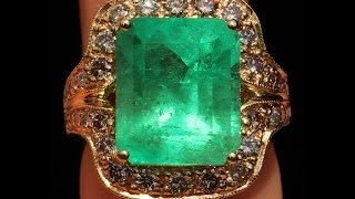 SPECTACULAR LARGE 13.86 CARAT COLOMBIAN EMERALD DIAMOND 14K RING NO RESERVE !