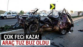 Ankara'da Feci Kaza! Araç Tuz Buz Oldu
