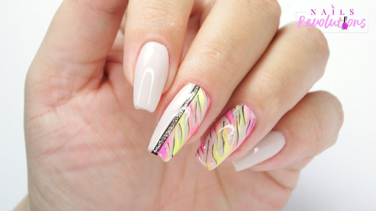 Neon zebra 🦓 nails art tutorial / Molly Lac /allepaznokcie