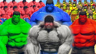 World War Hulk | Red Hulk & Blue Hulk & Hulk vs Grey Hulk Army - What If Battle Superheroes YouTube Videos