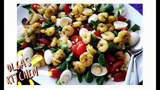 Салат  с креветками и фаршированные мини перцы Gefüllte Paprika ,Bunter Salat mit Garnelen🥬🍅🌶🍤