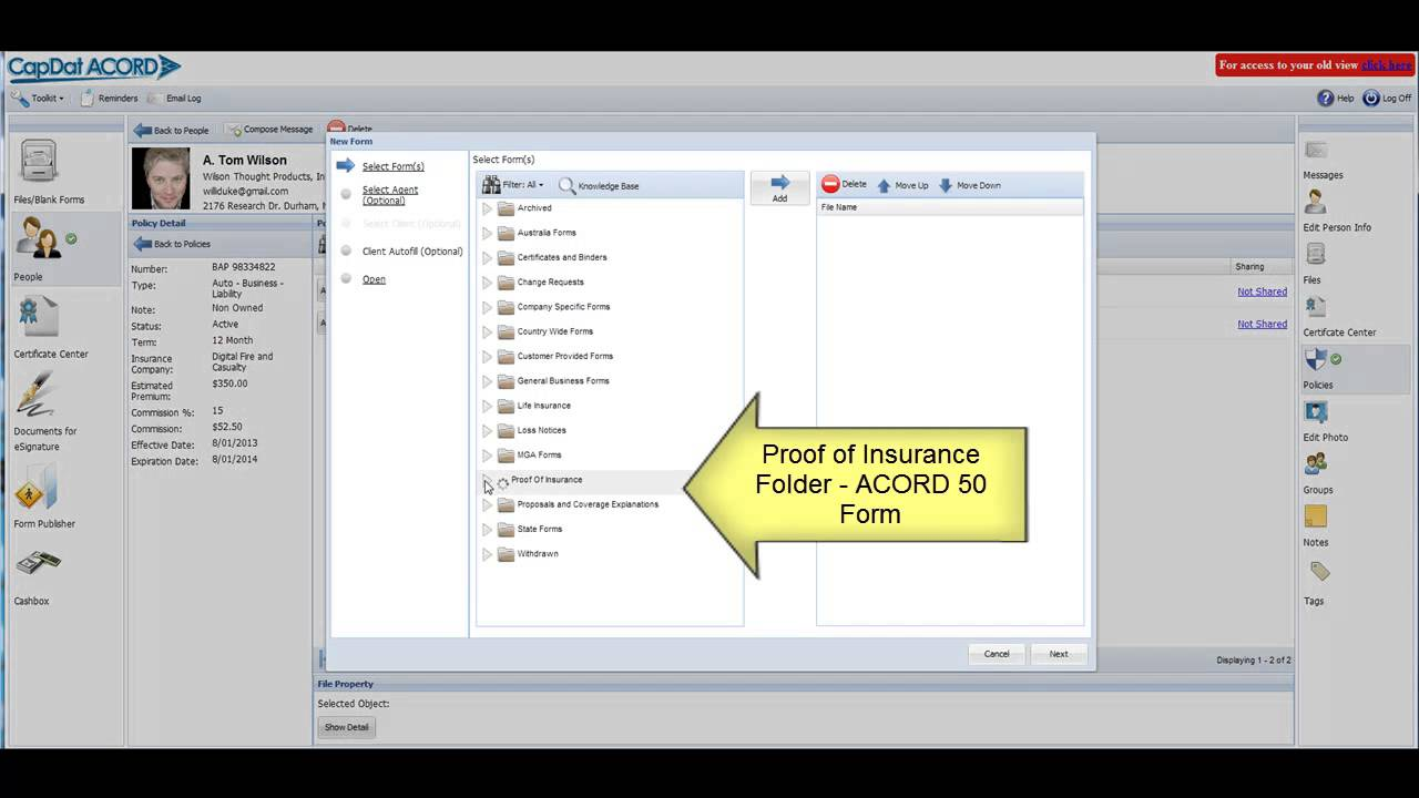 Create a Proof of Insurance ID Card using Auto Fill in Cap Dat ACORD Throughout Auto Insurance Id Card Template
