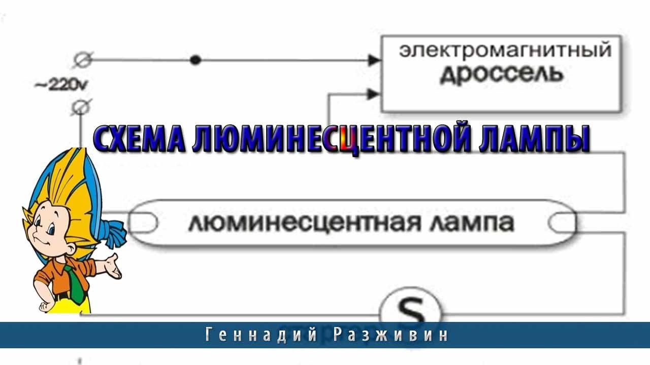 Схема подключения люминесцентного светильника фото 603