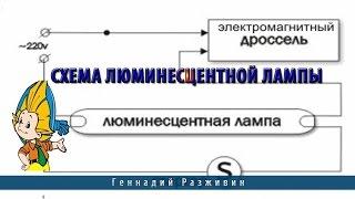 видео Схемы подключения люминесцентной лампы с помощью электронного балласта и пускорегулирующего устройства