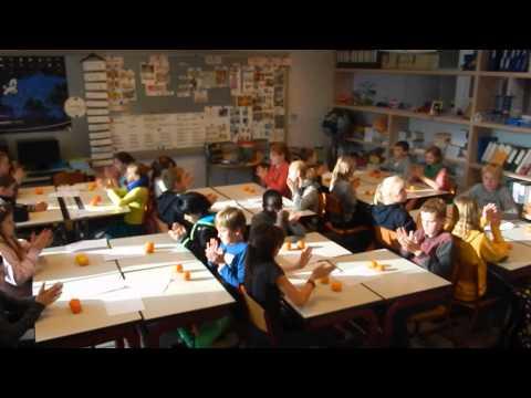 6de leerjaar van basisschool De Mote doet de citrussong.
