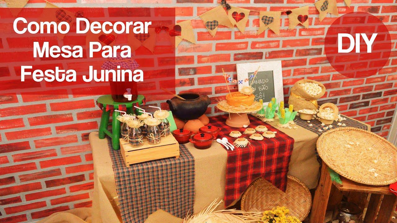 Decoraç u00e3o Festa Junina (Convite, Decoraç u00e3o, lembrancinha e mais) YouTube -> Decoração Tnt Festa Junina