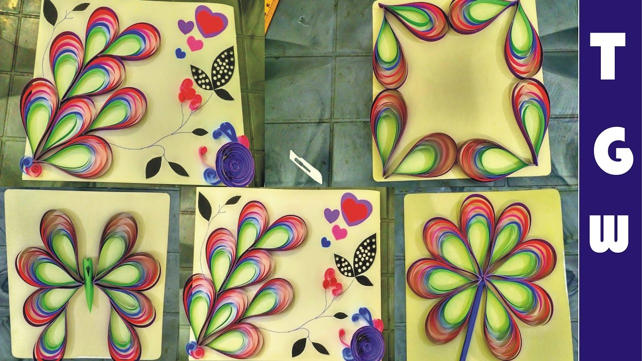 paper quilling wall decorations | paper quilling wall hangings - YouTube