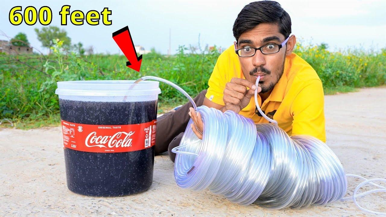 Longest Straw Ever VS Coca Cola   क्या मैं 600 फ़ीट दूर से कोका कोला पी पाउँगा ? Thara Bhai Amit