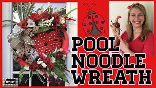 Pool Noodle Wreath | Ladybug Wreath | DIY Summer Wreath Dollar Tree!