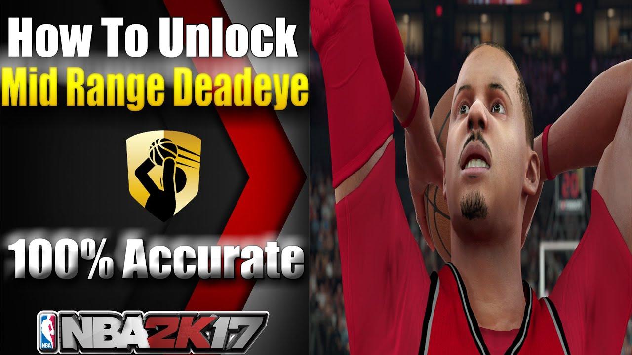 Nba 2k17  How To Unlock Mid Range Deadeye Badge Tutorial **100% Accurate**