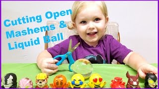 CUTTING OPEN MASHEMS - WHATS INSIDE THESE SQUISHY TOYS KIDS