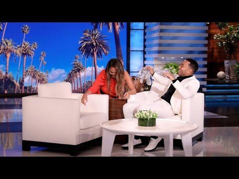 Ashley - Chrissy Teigen Scares Hubby John Legend on Ellen!